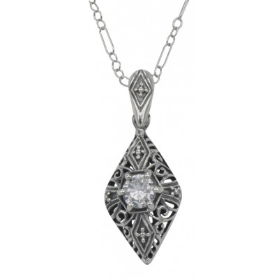 Victorian Style Cubic Zirconia Filigree Pendant with Chain - Sterling Silver