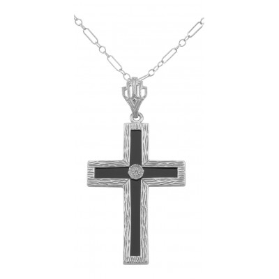 Beautiful Black Onyx Cross with Diamond Accent Center - Sterling Silver