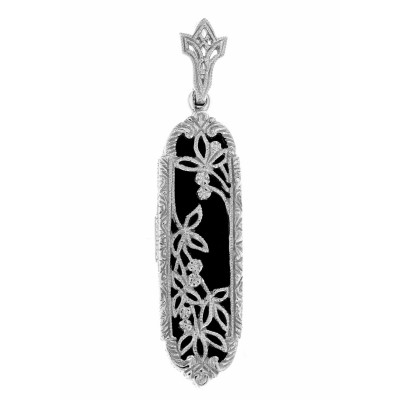 Art Deco Black Onyx Floral Filigree Pendant - 14kt White Gold