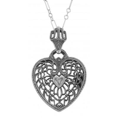 Classic Filigree Heart Pendant w/ Diamond and Chain - Sterling Silver
