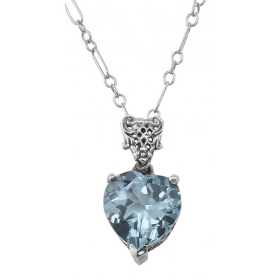 Filigree Heart Shaped Blue Topaz Pendant - Sterling Silver