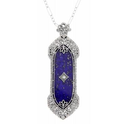 Art Deco Style Lapis Lazuli Filigree Pendant - Sterling Silver