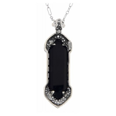 Art Deco Black Onyx Filigree Pendant - Sterling Silver
