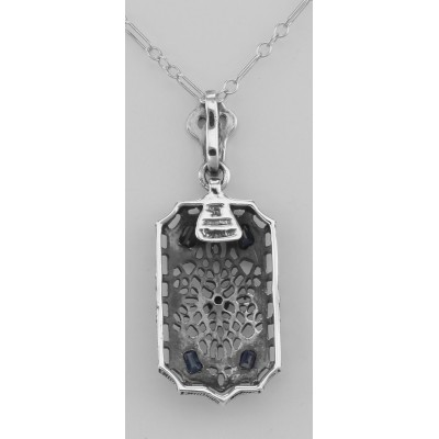 Genuine Pearl Blue Sapphire and Diamond Filigree Pendant - Sterling Silver