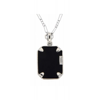 Victorian Style Black Onyx Filigree Diamond Pendant 14kt White Gold