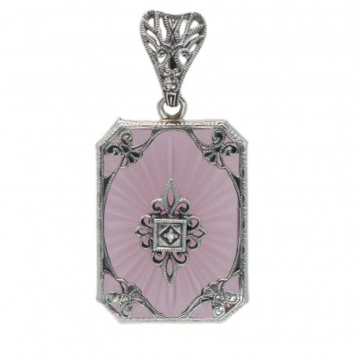Filigree Pendant w/ Pink sunray w/diamond - Sterling Silver