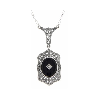 Art Deco Style Black Onyx and Diamond Pendant and Chain - Sterling Silver