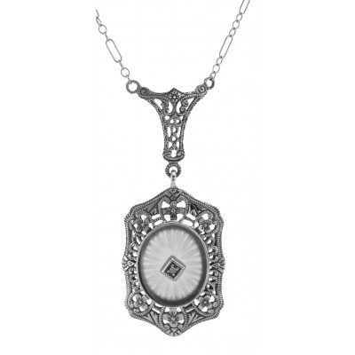 Art Deco Style Sunray Crystal Diamond Pendant and Chain - Sterling Silver