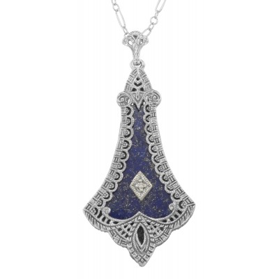 Victorian Blue Lapis Filigree Diamond Pendant - Sterling Silver