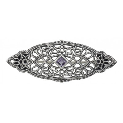 Antique Victorian Style Amethyst Pin / Brooch - Sterling Silver