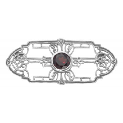 Art Deco Style Genuine Garnet Filigree Pin / Brooch - Sterling Silver