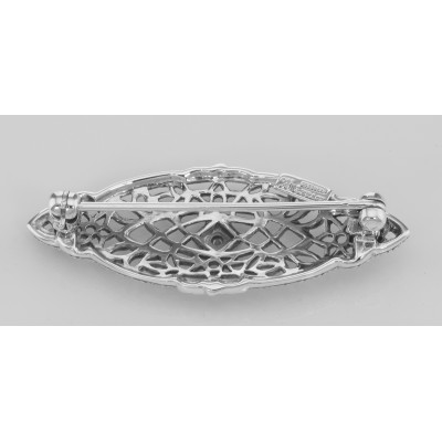 Antique Victorian Style Diamond Filigree Pin / Brooch Sterling Silver