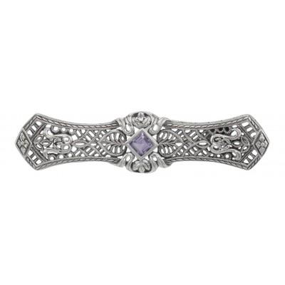 Art Deco Style Amethyst Filigree Bar Pin / Brooch - Sterling Silver
