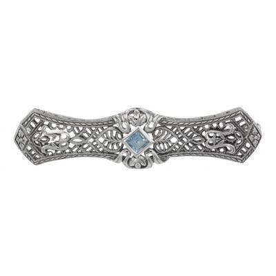 Art Deco Style Blue Topaz Filigree Bar Pin Brooch - Sterling Silver