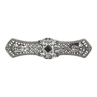 Art Deco Style Black Onyx Filigree Bar Pin / Brooch - Sterling Silver