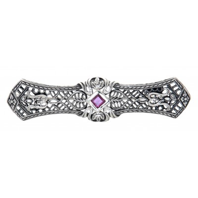 Art Deco Style Red Ruby Filigree Bar Pin / Brooch - Sterling Silver