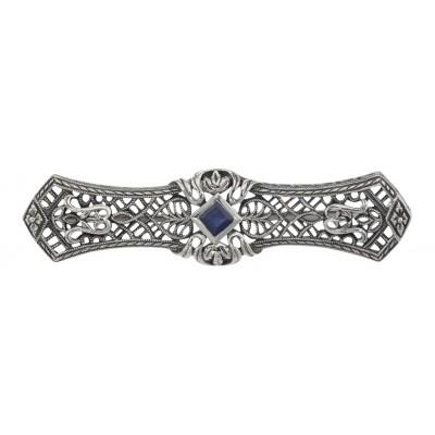 Art Deco Style Blue Sapphire Filigree Bar Pin / Brooch - Sterling Silver