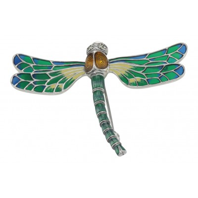 French Style Plique a Jour Multi-Color Enamel Dragonfly Pin - Sterling Silver