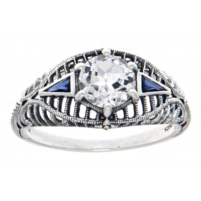 Art Deco Style White Topaz Filigree Ring w/ Blue Sapphire Accents - Sterling Silver