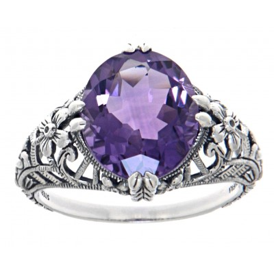 Victorian Style Geniune Amethyst Filigree Ring - Sterling Silver