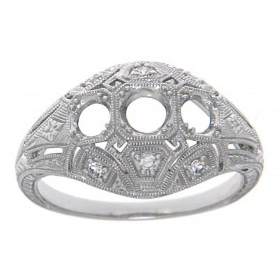 Art Deco Style Three Stone 14kt White Gold Filigree Semi Mount Diamond Ring