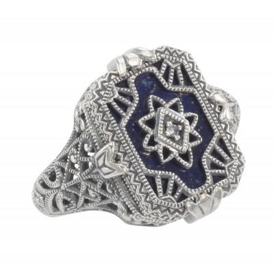 Antique Victorian Style Blue Lapis  Diamond Filigree Ring - Sterling Silver