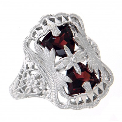 Antique Victorian Style Filigree Garnet Ring Flower Design 14kt White Gold