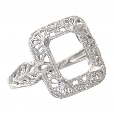 Antique Victorian Style Semi - Mount Ring - 14kt White Gold