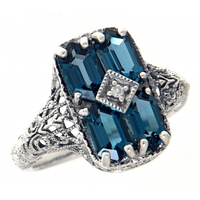 Art Deco Style 2 Carat London Blue Topaz Filigree Ring with Diamond - Sterling Silver