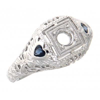Art Deco Style 4mm Semi Mount Filigree Ring Sapphire Accents 14kt White Gold