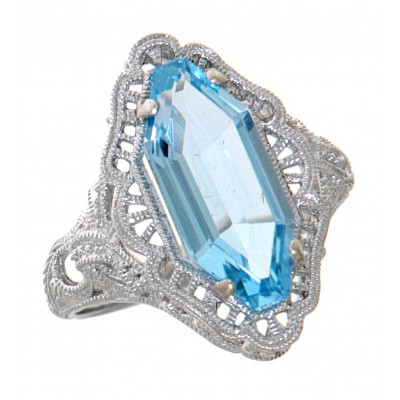 Art Deco Style Blue Topaz Filigree Ring - 14kt White Gold