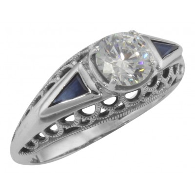 Art Deco Style Cubic Zirconia Filigree Ring w/ Blue Sapphire - Sterling Silver