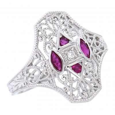 Art Deco Style Filigree Diamond Ring w/ 4 ruby accents - 14kt White Gold