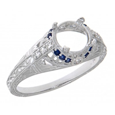 Art Deco Style Semi-Mount Filigree Ring Diamond and Blue Sapphire Accents - 14kt White Gold