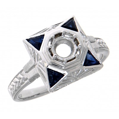 Art Deco Style Semi-Mount Filigree Ring w/ Blue Sapphires - 14kt White Gold