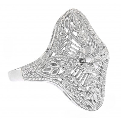 Art Deco Style Semi Mount Solitaire Filigree Ring - 14kt White Gold 2.5-5 mm