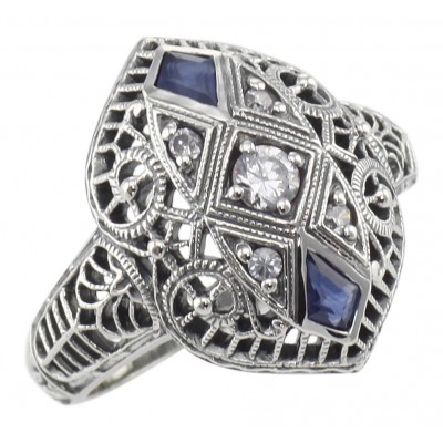 CZ / Sapphire Filigree Ring - Art Deco Style - Sterling Silver