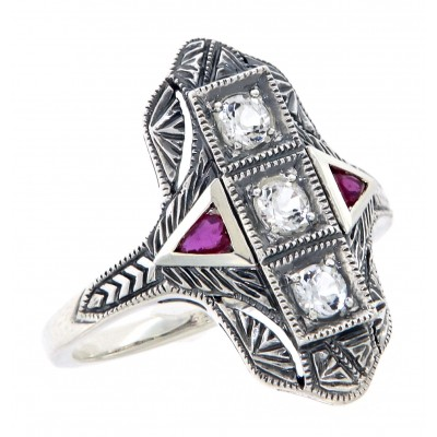 Art Deco Style Filigree Ring White Topaz with Ruby Accents Sterling Silver