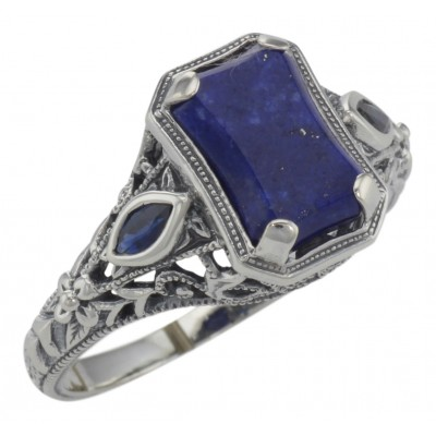 Art Deco Style Lapis lazuli Filigree Ring w/ Sapphire Accents - Sterling Silver