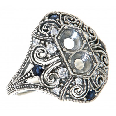 4.5mm Semi Mount / Sapphire Filigree Ring / White Topaz Accents - Art Deco Style - Sterling Silver