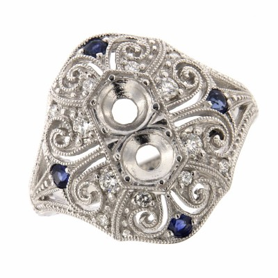 4.5mm Semi Mount / Sapphire Filigree Ring - Art Deco Style - 14kt White Gold