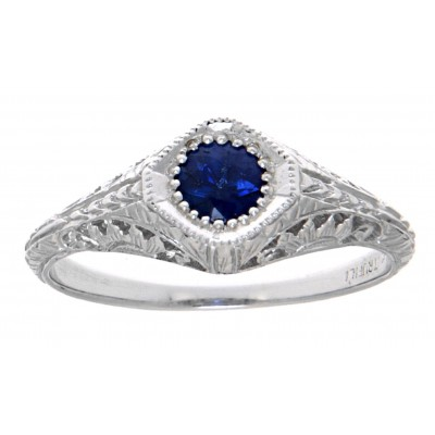 Victorian Style Blue Sapphire Filigree Ring 14kt White Gold