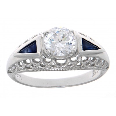 Art Deco Style Cubic Zirconia Filigree Ring w/ Blue Sapphire - 14kt White Gold