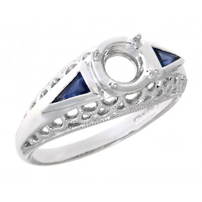 Art Deco Style  Filigree Semi Mount Ring Blue Sapphire Accents 14kt White Gold