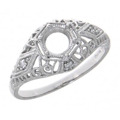 Semi Mount Art Deco Diamond Filigree Ring - Platinum 5mm Center