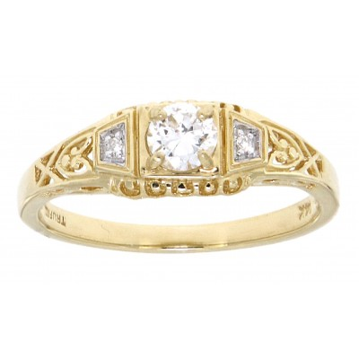 1/4 Carat Diamond Art Deco Style 14kt Yellow Gold Filigree Ring w/ 2 Diamonds