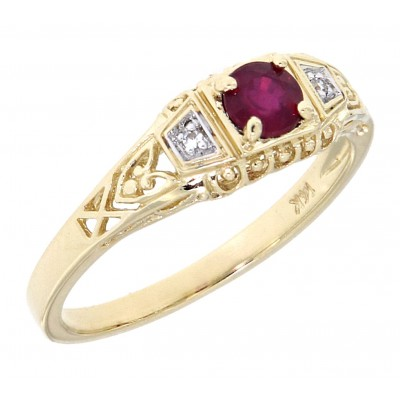 Natural Ruby Art Deco Style 14kt Yellow Gold Filigree Ring w/ 2 Diamonds