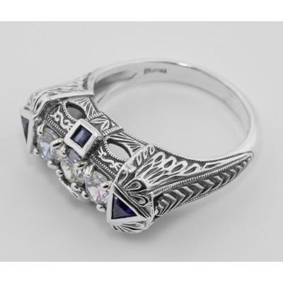 Vintage Inspired Art Deco Filigree Ring Sapphires  White Topaz Sterling Silver