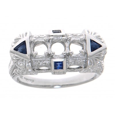 Art Deco Style Semi Mount Ring Sapphire Accents - 14kt White Gold