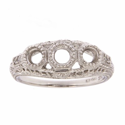 Art Deco Style Semi Mount Filigree Ring w/ 4 Diamonds - 14kt White Gold